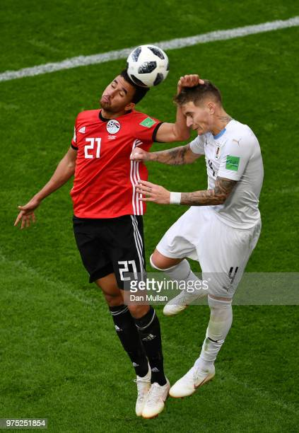 Trezeguet of Egypt challenge for the ball with Guillermo Varela of Uruguay during the 2018 FIFA World Cup Russia group A match between Egypt and...