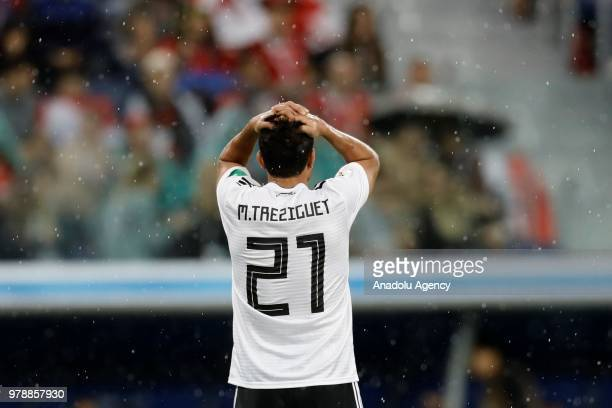 Trezeguet of Egypt gestures during the 2018 FIFA World Cup Russia Group A match between Russia and Egypt at the Saint Petersburg Stadium in St...