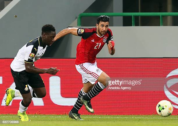 Trezeguet of Egypt in action during the African Cup of Nations 2017 Group D football match between Ghana and Egypt in PortGentil Gabon on January 25...