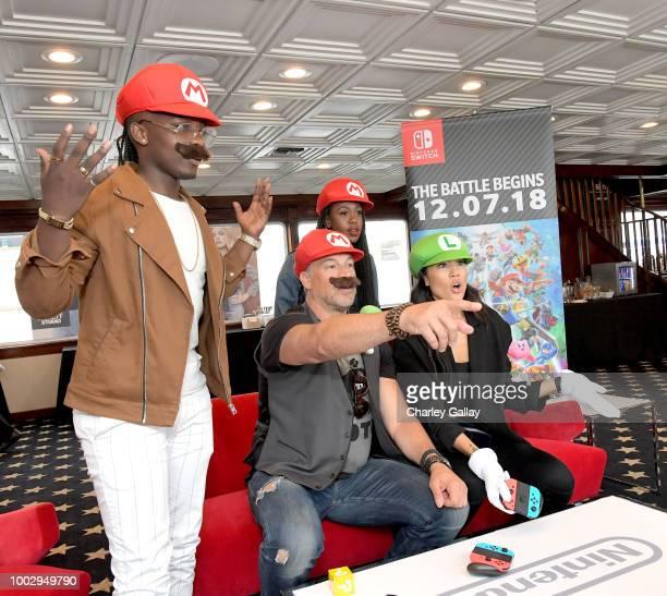 Trezzo Mahoro Aleks Paunovic Rukiya Bernard and Jennifer Cheon put their gaming skills to the test playing Mario Kart 8 Deluxe on Nintendo Switch at...