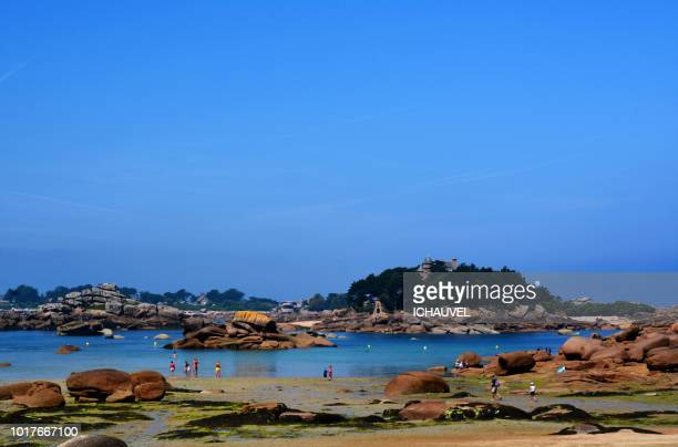 trégastel beach brittany france - cotes d'armor stock photos and pictures