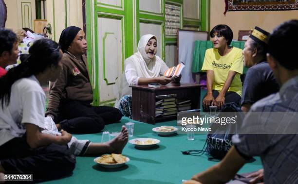 Tri Santoso Nugroho speaks about Islam during a study session with other transgender people in Yogyakarta Indonesia on Aug 20 2017 Lesbian gay...
