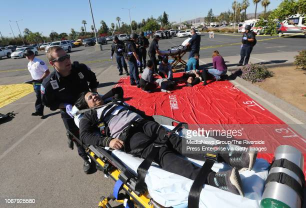 A triage was set up to help the injured during an active shooter training exercise at Bourns in Riverside on Wednesday November 14 2018 About 150...