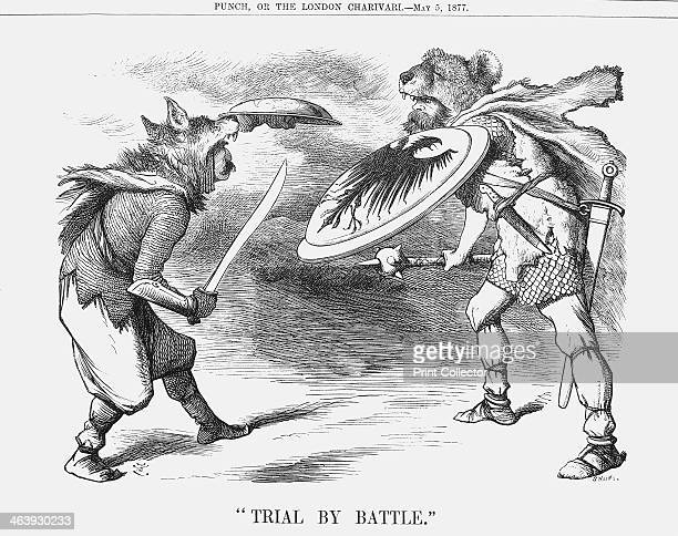 'Trial by Battle' 1877 In this battle Russia is on the right clad in the skin of the Russian Bear and Turkey having cast off its sheep's clothing to...