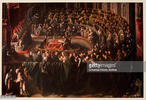 Trial of Galileo Rome Oil on Canvas Italian School