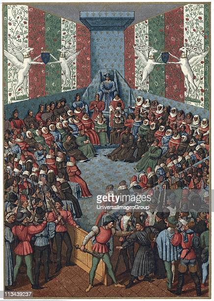 Trial of Jean II Duke of Alencon Vendome accused of plotting with the English against France during the Hundred Years War Friend of Joan of Arc...