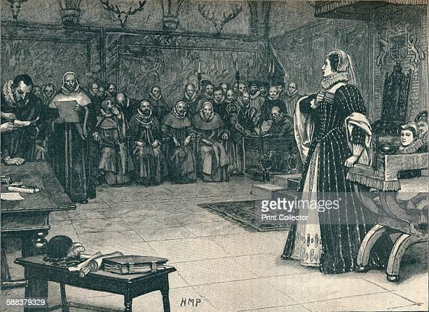 Trial of Mary Queen of Scots in Fotheringhay Castle 1586 From Cassell's History of England Vol II