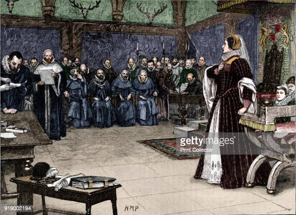 Trial of Mary Queen of Scots in Fotheringhay Castle 1586 From Cassell's History of England Vol II [Cassell and Company Limited London Paris New York...