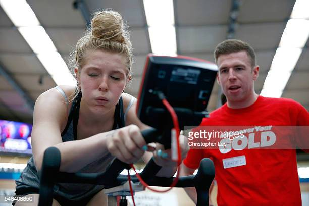 Trialist pushes herself during the launch of the Discover Your Gold at Lee Valley Velopark Velodrome on July 12, 2016 in London, England. Discover...