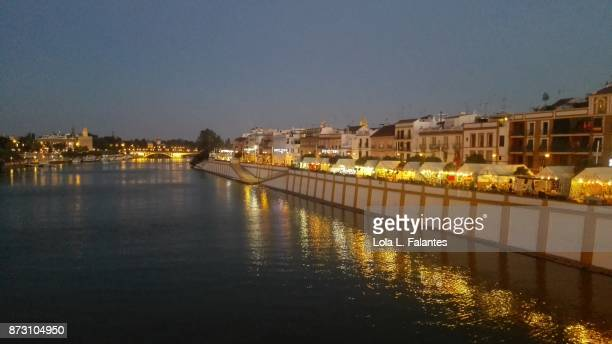 Triana cityscape at night. Seville, Spain
