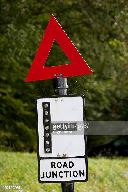 triangle warning sign - hugh threlfall stock pictures, royalty-free photos & images