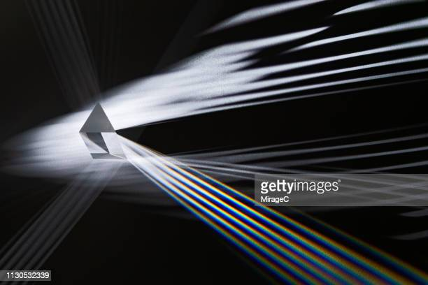 triangular prism refracting striped light - refraction stock pictures, royalty-free photos & images
