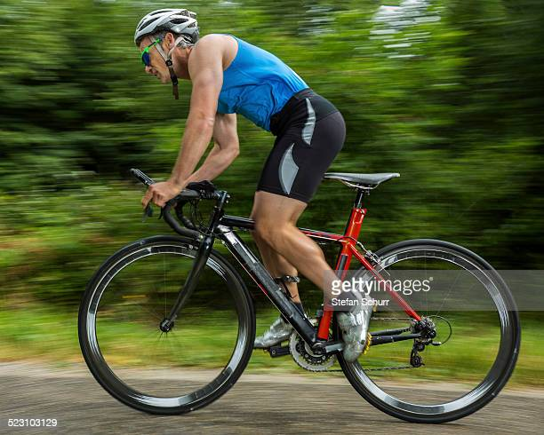 Triathlete, 45 years, cycling, Kaiserstrassle road, Baden-Wurttemberg, Germany