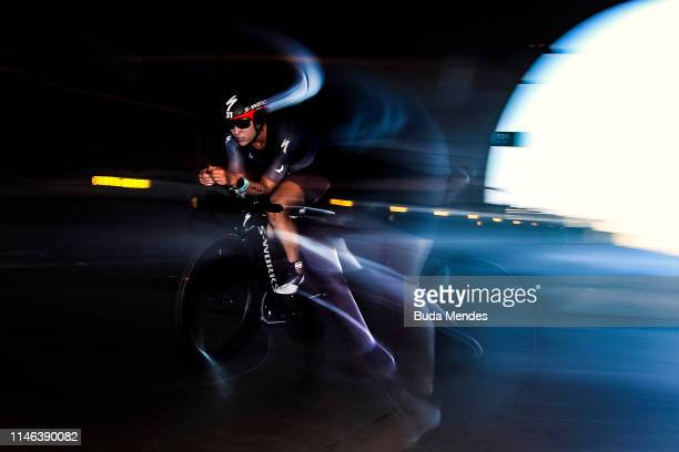 A triathlete competes in the cycling portion of the IRONMAN Florianopolis on May 26 2019 in Florianopolis Brazil