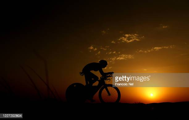 Triathlete Olga Matyushina trains at Al Qudra on May 26 2020 in Dubai United Arab Emirates