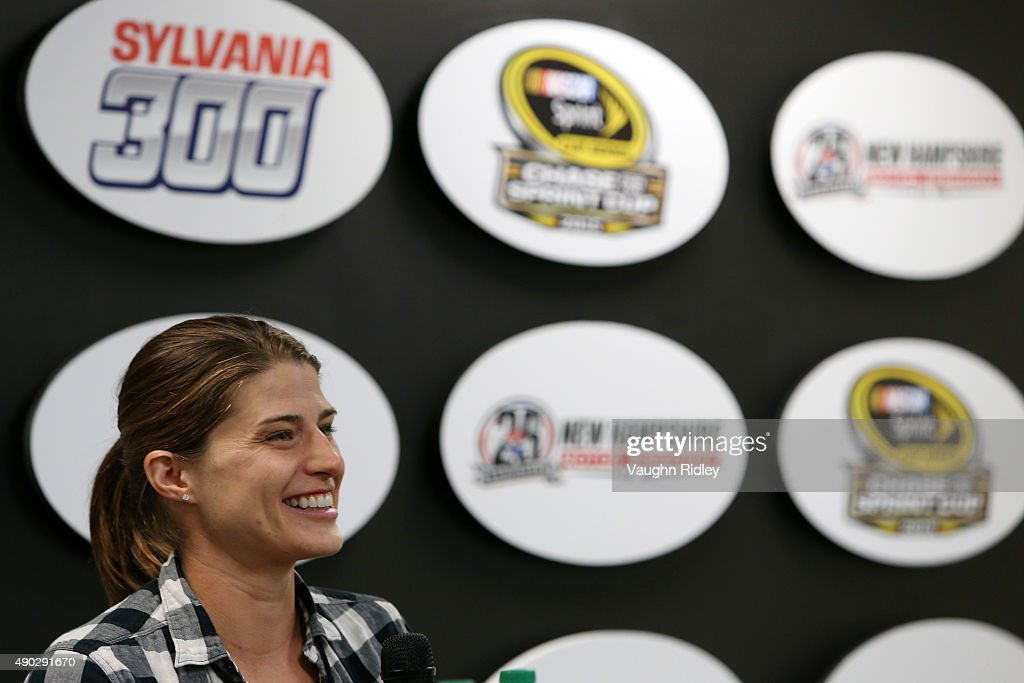 Triathlete Sarah True speaks at a press conference prior to the NASCAR Sprint Cup Series SYLVANIA 300 at New Hampshire Motor Speedway on September 27, 2015 in Loudon, New Hampshire.