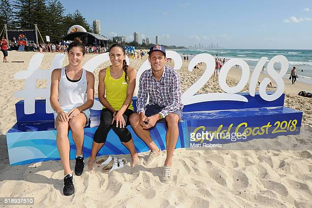 Triathletes Ashleigh Gentle Emma Moffatt and Courtney Atkinson pose during the Official Reveal of GC2018 Mascot and Two Years to Go Celebrations at...