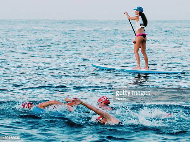 Triathletes compete in the 38km swim during the Ironman World Championships presented by Go Pro on October 10th 2015 Kailua Kona Hawaii Ironman...