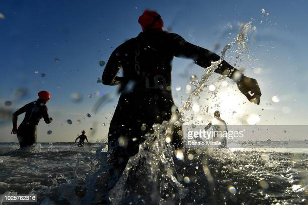 Triathletes enter the water during the Isuzu IRONMAN 703 World Championship Women on September 1 2018 in Port Elizabeth South Africa Over 4500...