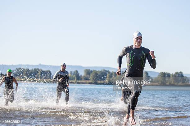 Triathletes training for a triathlon