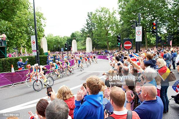 2012 Summer Olympics Overall view of action during cycling portion of Men's Triathlon at Hyde Park View of spectators London United Kingdom 8/7/2012...