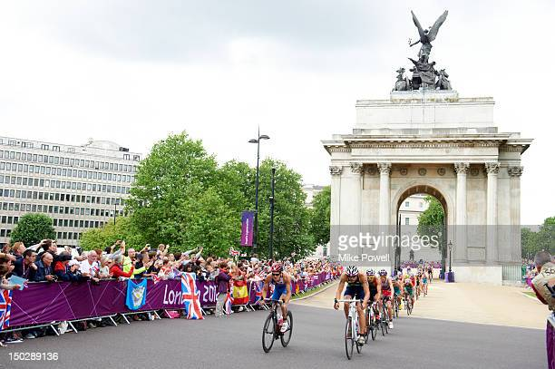 2012 Summer Olympics Overall view of action during cycling portion of Men's Triathlon at Wellington Arch on Hyde Park Corner London United Kingdom...