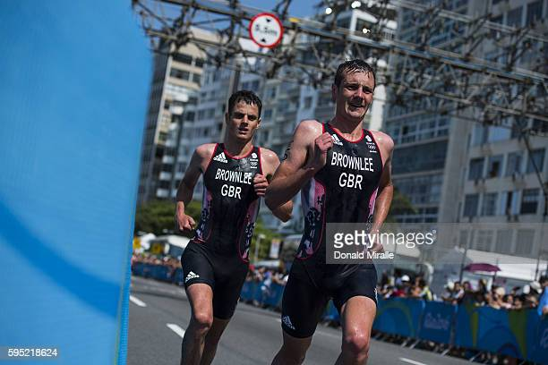 2016 Summer Olympics Great Britain Jonathan Brownlee and Alistair Brownlee in action running during Men's Triathlon at Fort Copacabana A Brownlee...