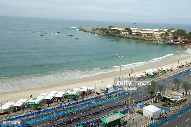 2016 Summer Olympics Overall view of athletes in action biking during the Women's Triathlon at Fort Copacabana Scenic Rio de Janeiro Brazil 8/20/2016...