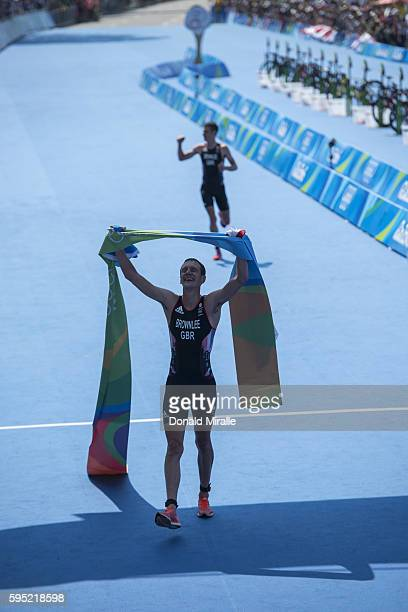 2016 Summer Olympics View of Great Britain Alistair Brownlee victorious at finish line after Men's Triathlon at Fort Copacabana A Brownlee wins Gold...