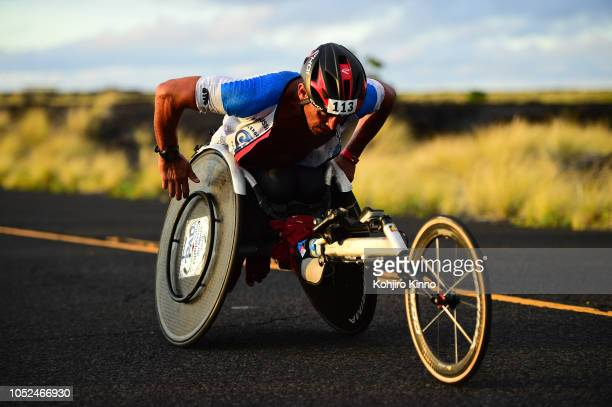 40th Ironman World Championship France Andaloussi Ahmed in action during handicapped run portion of the race KailuaKona HI CREDIT Kohjiro Kinno