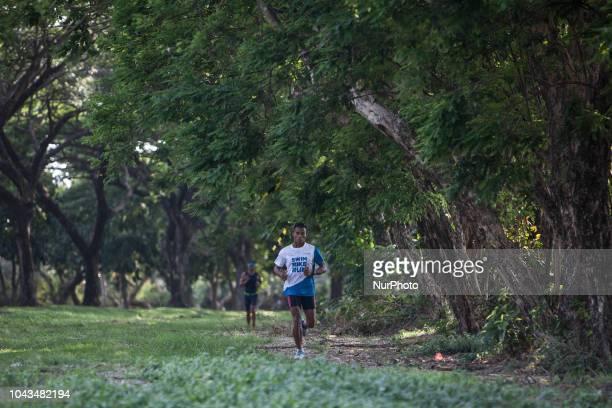 Triathlon athletes during 2018 Rhino Cross Triathlon at Tanjung Lesung Banten Indonesia on September 30 2018 Rhino Cross Triathlon is the second...