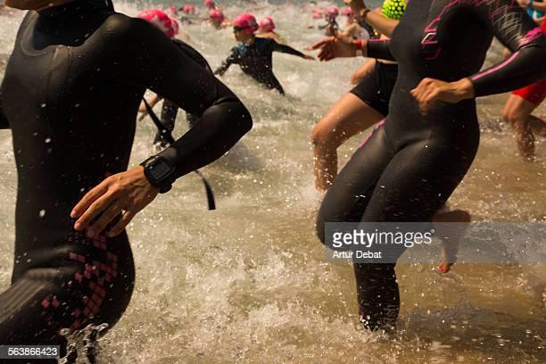 Triathlon athletes on the start