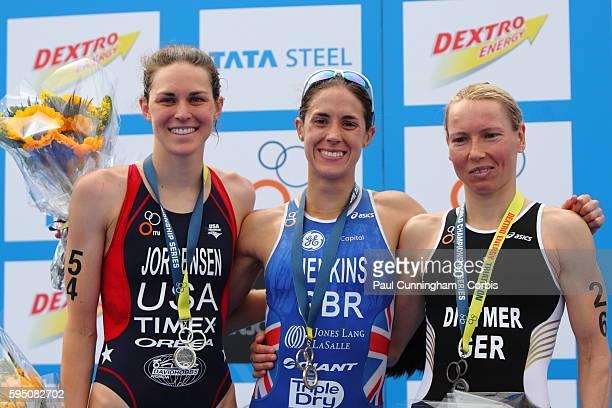 UK Triathlon Finish Line Helen Jenkins Anja Dittmer and Gwen Jorgensen on the winners podium Elite Women ITU World Championship Dextro Energy...