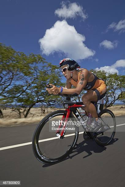 Ironman World Championship Scenic view of USA Apolo Ohno in action during cycling leg of race Ohno finished the 112 mile stretch in 50715 KailuaKona...