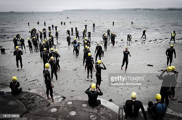 Triathlon, swim, swimming, sport, run, bike, water, competition, cold,sea, beach