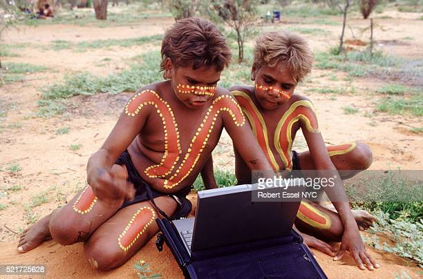 Tribal Boys with a Laptop in Australia