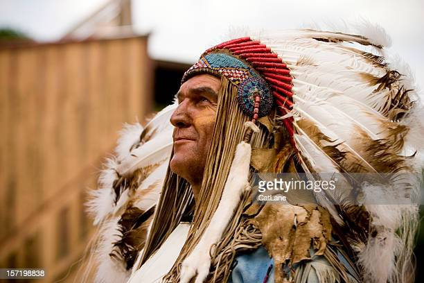 tribal chief - native american stock photos and pictures