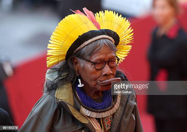 Tribal chief Raoni Metuktire attends the 'On Tour' Premiere at the Palais des Festivals during the 63rd Annual Cannes Film Festival on May 13 2010 in...