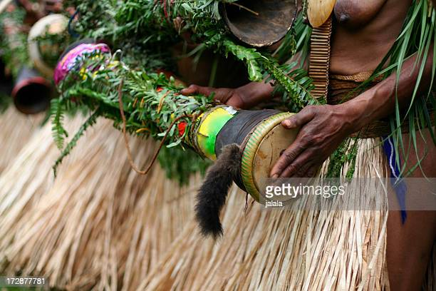 tribal drum - papua new guinea stock pictures, royalty-free photos & images