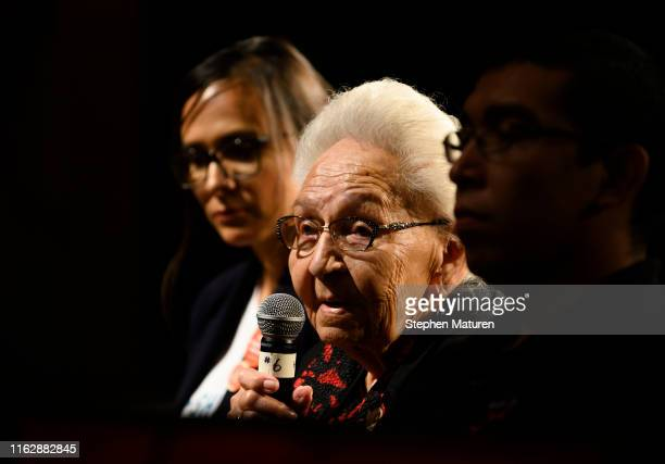 Tribal elder Marcella LeBeau asks Independent candidate for president Mark Charles a question at the Frank LaMere Native American Presidential Forum...