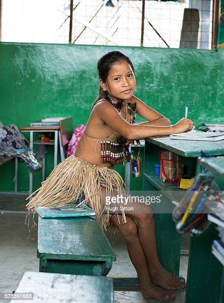 tribal girl (6-7) from amazonian rainforest, ecuador - hugh sitton stock pictures, royalty-free photos & images