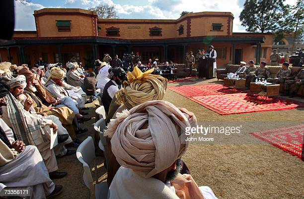 Tribal leaders from Pakistan's North Waziristan tribal area meet with Pakistani Army officials in Miran Shah February 17 2007 in the tribal area of...