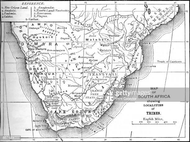 Tribal Map of South Africa' circa 1880 From British Battles on Land and Sea Vol IV by James Grant [Cassell Petter Galpin London Paris Melbourne circa...