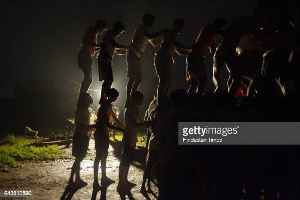 Tribal People of Bhumiputra Govinda Pathaks practices for dahi handi at Kelti Pada Aarey Colony on Friday Night