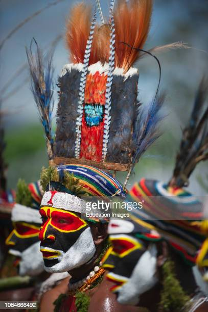 Tribal performers from the Anglimp District in Waghi Province performing at a Singsing Hagen Show Western Highlands Papua New Guinea