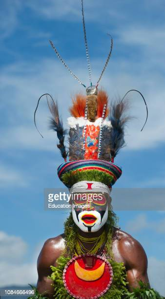 Tribal performers from the Anglimp District in Waghi Province performing at a Singsing Hagen Show Western Highlands Papua New Guinea with bird of...