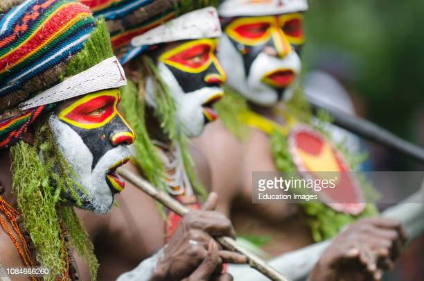 Tribal performers from the Anglimp District in Waghi Province Western Highlands Papua New Guinea performing at a Singsing Hagen Show