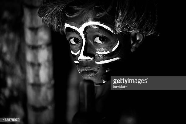 tribal portrait of boy - vanuatu - vanuatu stock pictures, royalty-free photos & images