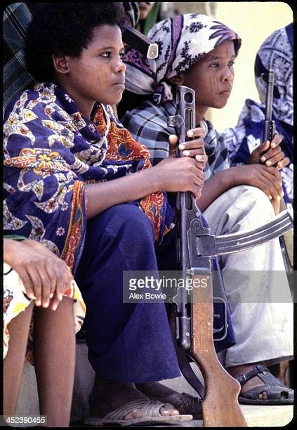 Tribal scars still visible young women fighters of the Eritrean People's Liberation Front listen to orders before moving to the frontline 20th July...