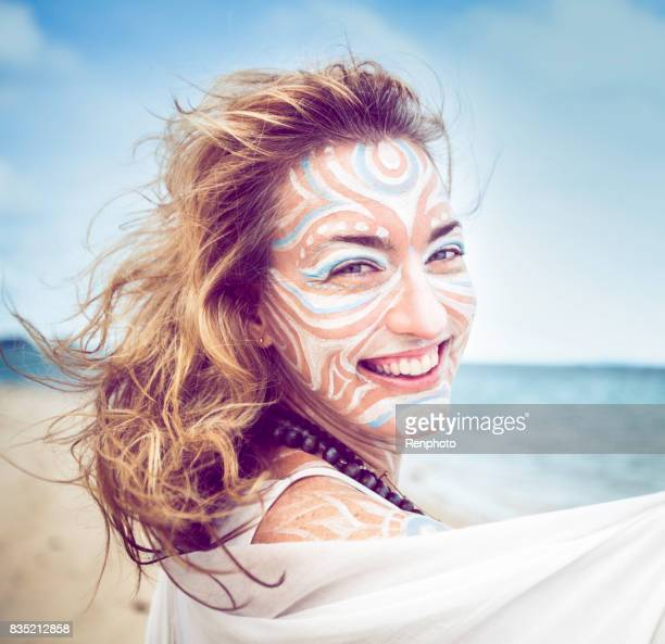 tribal sea goddess dancing series - mystic goddess stock photos and pictures